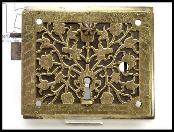 Rim lock, made by John Wilkes, c.1680 (brass & steel)