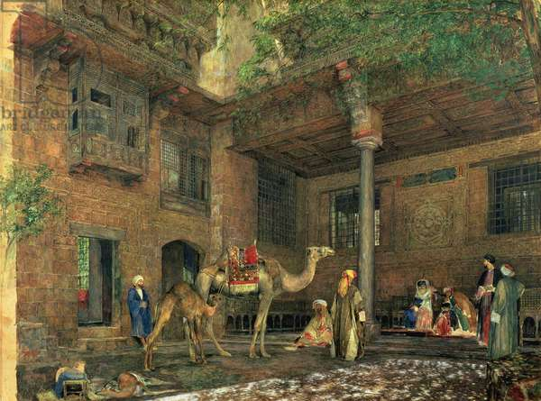 Courtyard of the Painter's House, Cairo, c.1851 (w/c & gouache on paper)