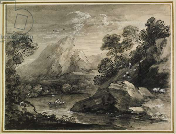 Mountainous Landscape With A Boat On A Lake, 1777-80 (ink & wash on paper)