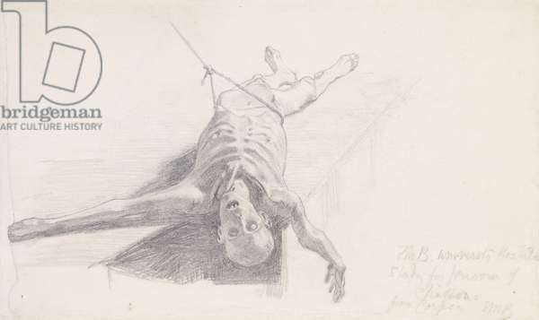 Poets of the Nineteenth Century - The Prisoner of Chillon - Study of Corpse , Designs for Decoration, 1856 (chalk on paper)