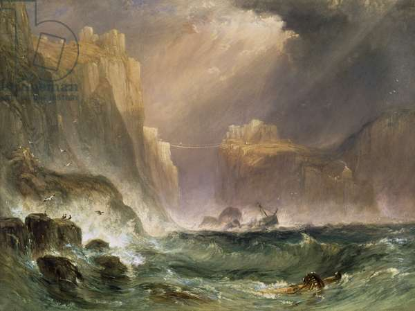 Carrick-y-Rede, Coast of Antrim, 1839 (w/c & bodycolour on paper)