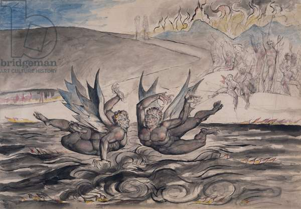 The Baffled Devils Fighting, illustration from 'Inferno' of 'The Divine Comedy' by Dante Alighieri (1265-1321) (pen & ink, pencil, w/c on paper)