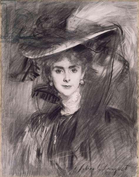 Olga, Baroness de Meyer, 1900-1910 (charcoal on paper)