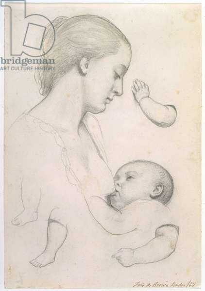 Infant's Repast - Study of a Mother and Child with separate Arm and Leg Studies of the Child, 1848 (chalk on paper)