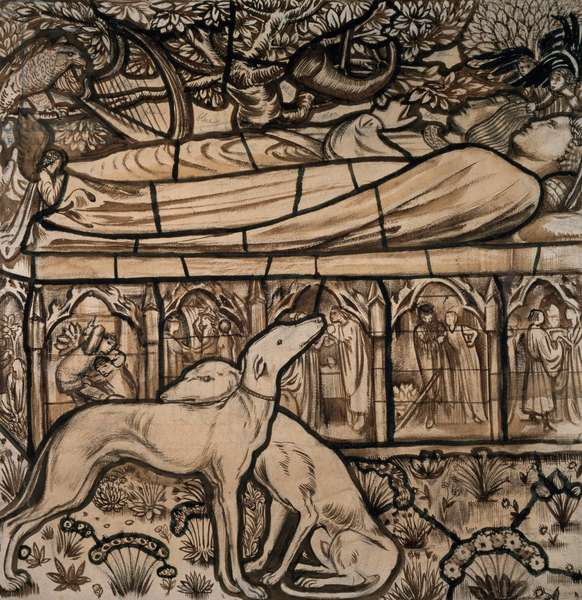 The Tomb of Tristram and Iseult, cartoon for stained glass, 1862 (pen and brush in sepia)