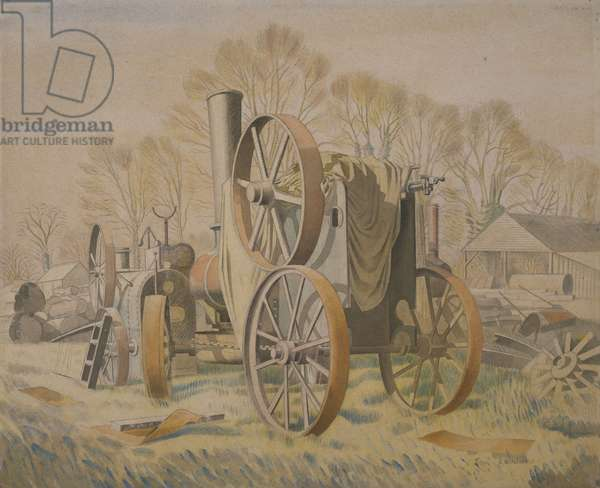 The Tractor, 1933 (w/c & pencil on paper)