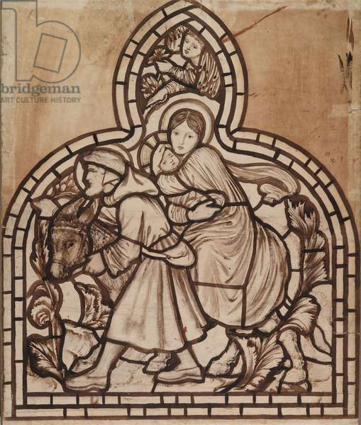 The Flight into Egypt (Holy Family), cartoon for stained glass window at St Michael, Brighton, 1862 (sepia on paper)
