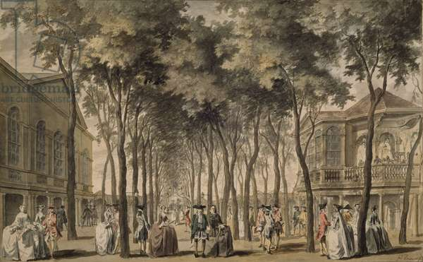 A View of the Grand Walk, Marylebone Gardens, 1778-86 (w/c on paper)