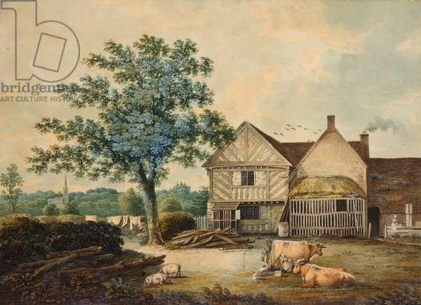 Farmyard near Aston Hall (w/c on paper)