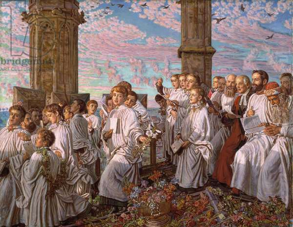 May Morning on Magdalen College Tower, Oxford, Ancient Annual Ceremony, 1893 (oil on canvas)