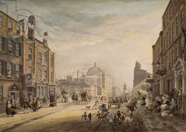 View Towards Hanover Square Showing Holles Street, London, 1773-1791 (w/c on paper)