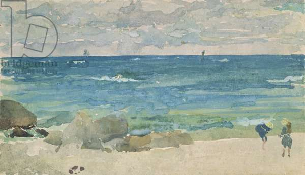 Beach Scene With Two Figures, 1885-90 (w/c on paper)