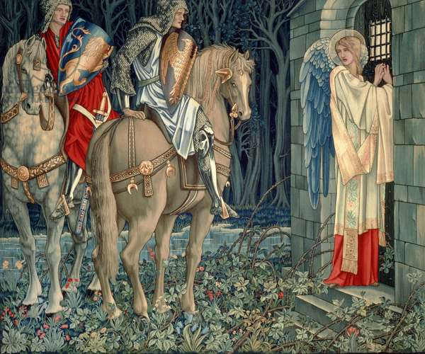 Quest for the Holy Grail Tapestries - Panel 3 - The Failure of Sir Gawaine; Sir Gawaine and Sir Uwaine at the Ruined Chapel, 1895-96 (textile)
