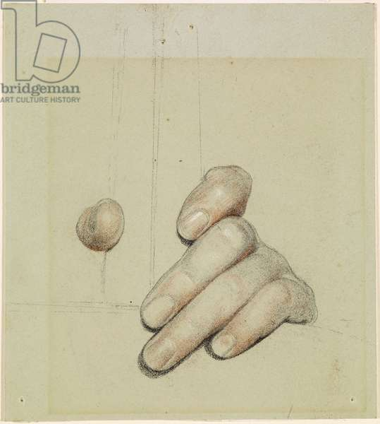 St George for Merrie England - Study of left Hand grasping a Bar, 1880 (black, red & white chalk on paper)