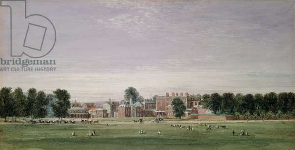 Buckingham House from the Green Park, 1825 (w/c & scratching out on paper)