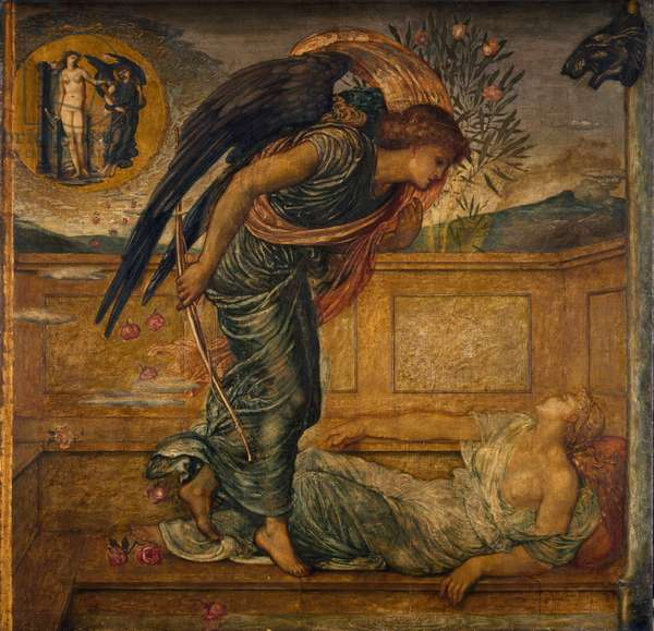 Cupid and Psyche - Palace Green Murals - Cupid Finding Psyche Asleep by a Fountain, 1881 (oil on canvas)