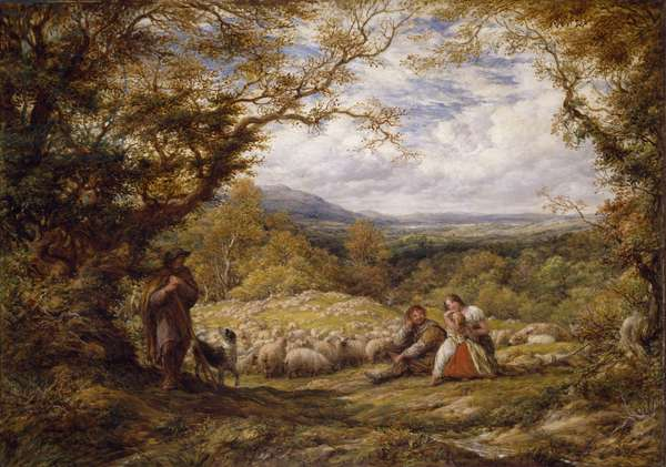 The Sheep Drive, 1863 (oil on canvas)