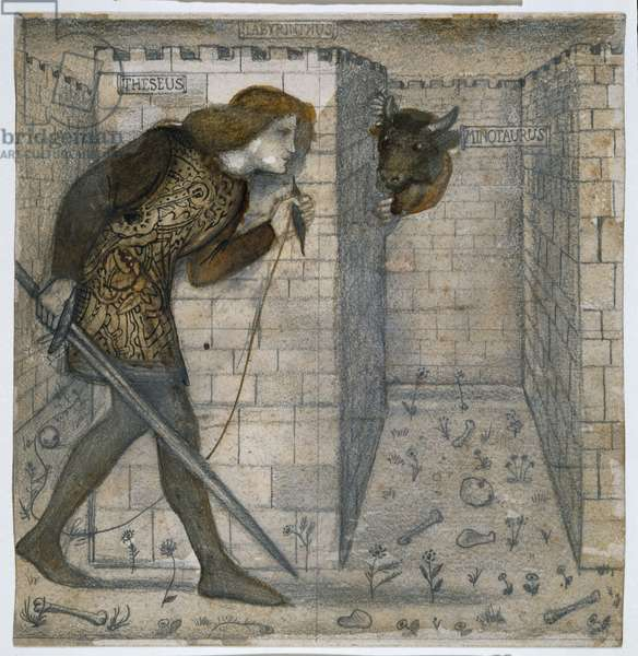Theseus and the Minotaur in the Labyrinth, 1861 (pencil & wash on paper)