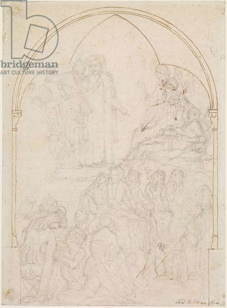 Chaucer at the Court of Edward III - Study, 1845 (pencil on paper)