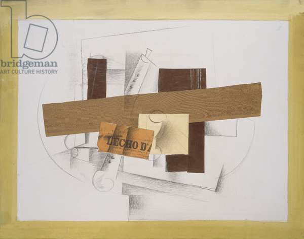 Clarinet, 1913 (pasted paper, charcoal, chalk & oil on canvas)