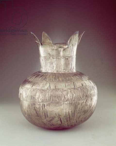 Pomegranate vase, from the Tomb of Tutankhamun, New Kingdom (silver or electrum)
