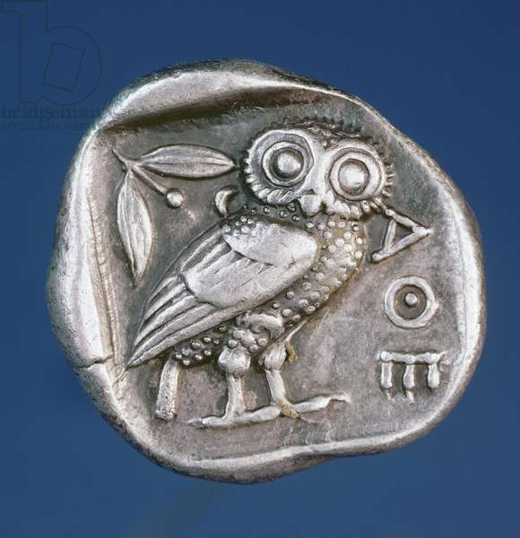 Athenian tetradrachma depicting the Owl of Athens (silver)
