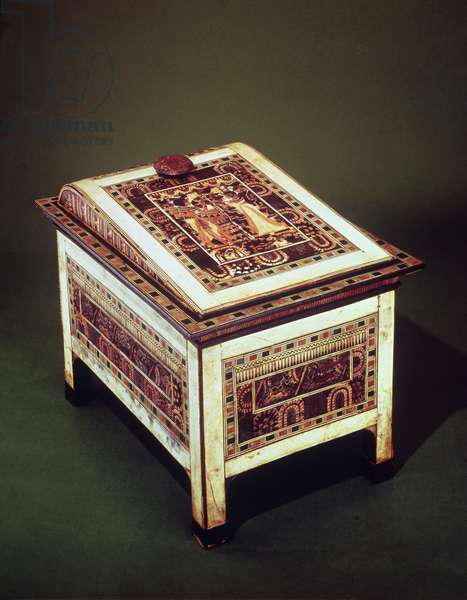 Coffer, from the Tomb of Tutankhamun (c.1370-1352 BC) New Kingdom (wood, bronze, ivory & coloured glaze) (see also 220898)