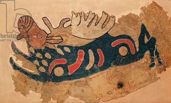 Elk, fragment of a saddle cover (felt)