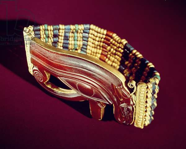 Flexible bead bracelet, from the Tomb of Tutankhamun, New Kingdom (gold and carnelian with gold, faience & glass beads) (see also 391011 & 391013)