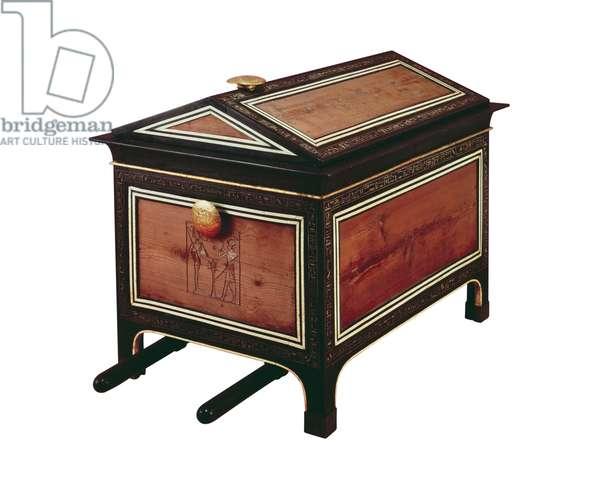 Portable chest, from the Tomb of Tutankhamun, New Kingdom (cedar & ebony with ebony veneer and inlaid ivory)