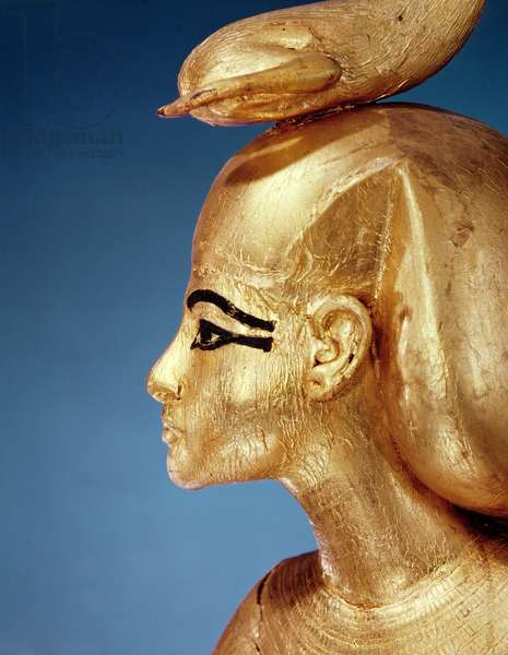 Detail of the goddess Selket from the canopic shrine, from the Tomb of Tutankhamun, New Kingdom (gilded wood)