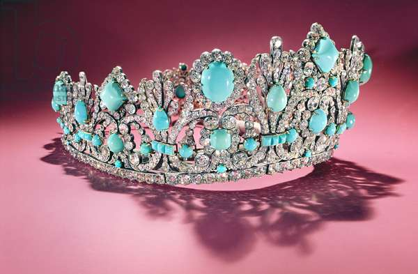Diadem, gift of Napoleon I (1769-1821) to Marie Louise (1791-1847) commissioned in 1810 (diamond & turquoise)