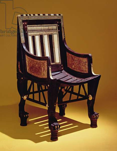 Child's chair, from the Tomb of Tutankhamun, New Kingdom (wood with ivory marquetry)