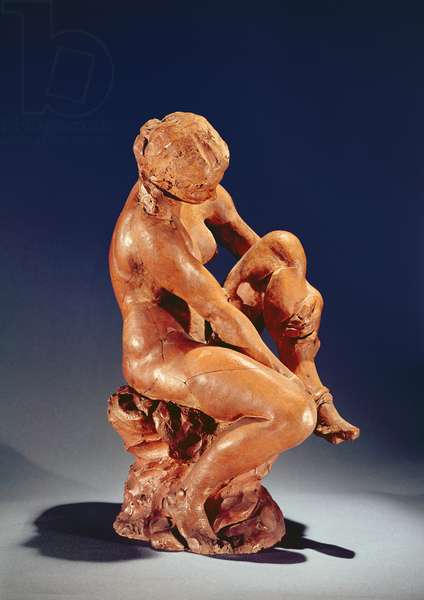 Woman taking off her stockings, c.1870 (terracotta)