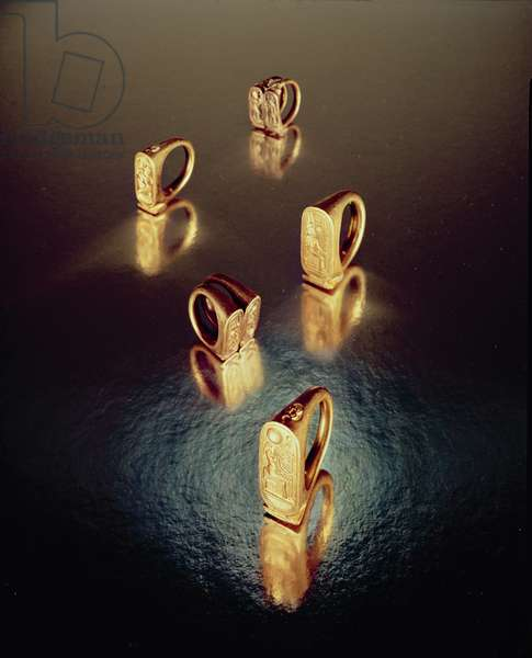 Five rings, from the Tomb of Tutankhamun, New Kingdom (gold)