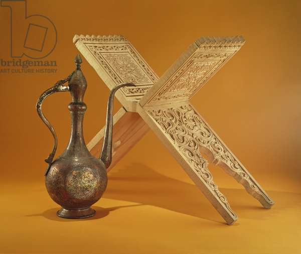 Copper Vessel and Koran Stand (carved wood)