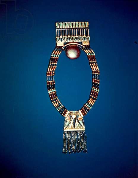 Necklace with lunar pectoral, from the Tomb of Tutankhamun, New Kingdom (electrum, feldspar, lapis lazuli & gold beads)