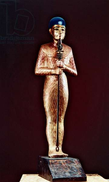 Figure of the god Ptah, from the Tomb of Tutankhamun, New Kingdom (gilded & gessoed wood with faience)