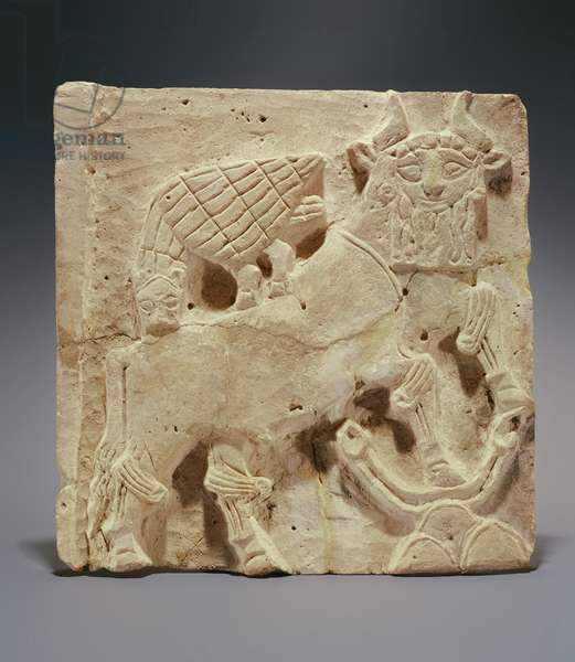 Plaque depicting a lion attacking a bull, from Iraq, c.2000 BC (terracotta)