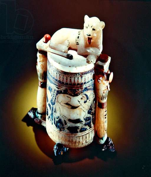 Unguent jar with a figure of a the king as a lion, from the Tomb of Tutankhamun, New Kingdom (painted alabaster) (see also 148194)
