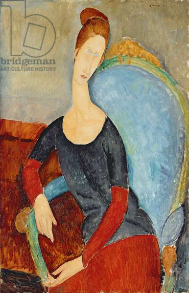 Mme Hebuterne in a Blue Chair, 1918 (oil on canvas)