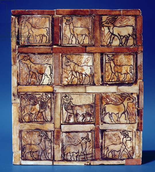 Gaming board depicting animals of the field and forest, from Iraq, c.2500 BC (wood)