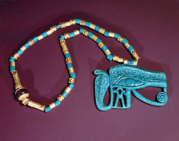 Eye of Ra pectoral, from the Tomb of Tutankhamun, New Kingdom (gold & blue faience)