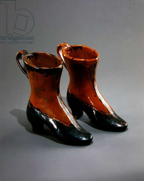 Boot pitchers, 1930s (painted & glazed earthenware)