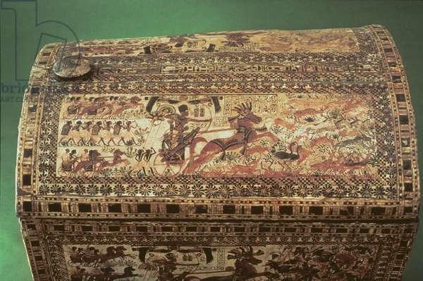 Detail of a Tutankhamun Chest, New Kingdom, c.1340 BC (painted wood)