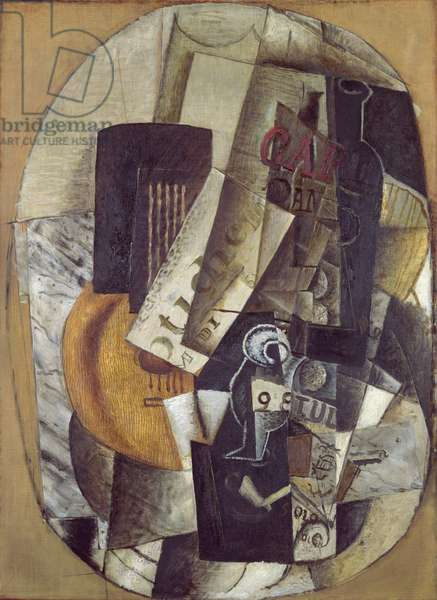 Guitar, Newspaper, and Bottle, 1913-14 (oil on canvas)