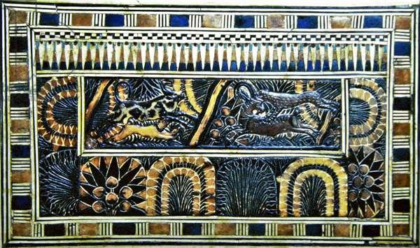 Coffer, from the Tomb of Tutankhamun, New Kingdom (wood, bronze, ivory & coloured glaze)
