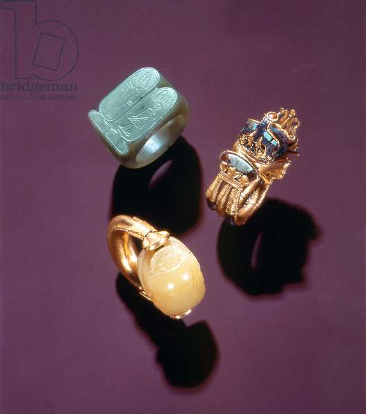 Three rings, from the Tomb of Tutankhamun (c.1370-1352 BC) New Kingdom (gold)