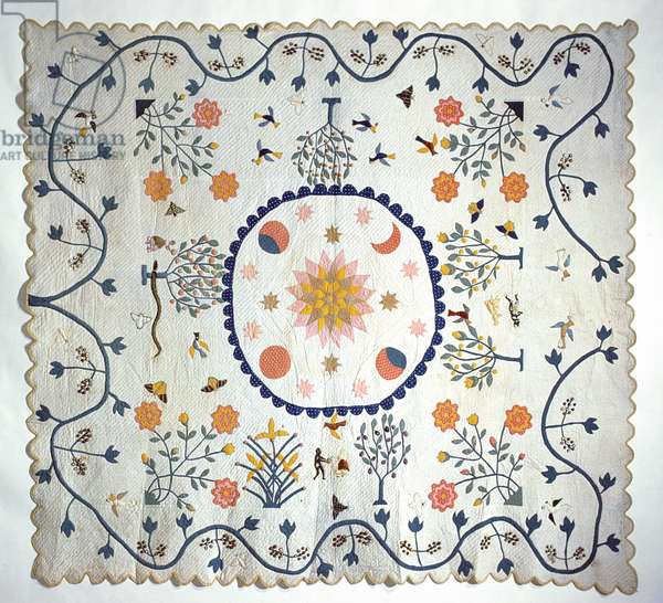 Applique quilt with Sun, Moon, Stars and the Garden of Eden, from Arkansas, c.1850-80 (cotton)