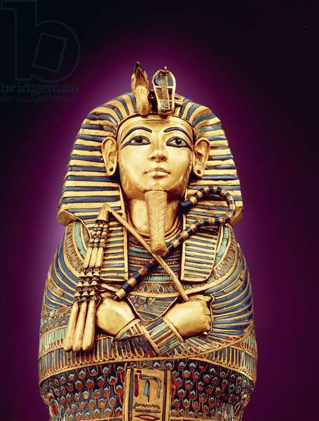 Detail of the front view of one of the canopic coffins, from the Tomb of Tutankhamun, New Kingdom (beated gold inlaid with coloured glass & cornelian)